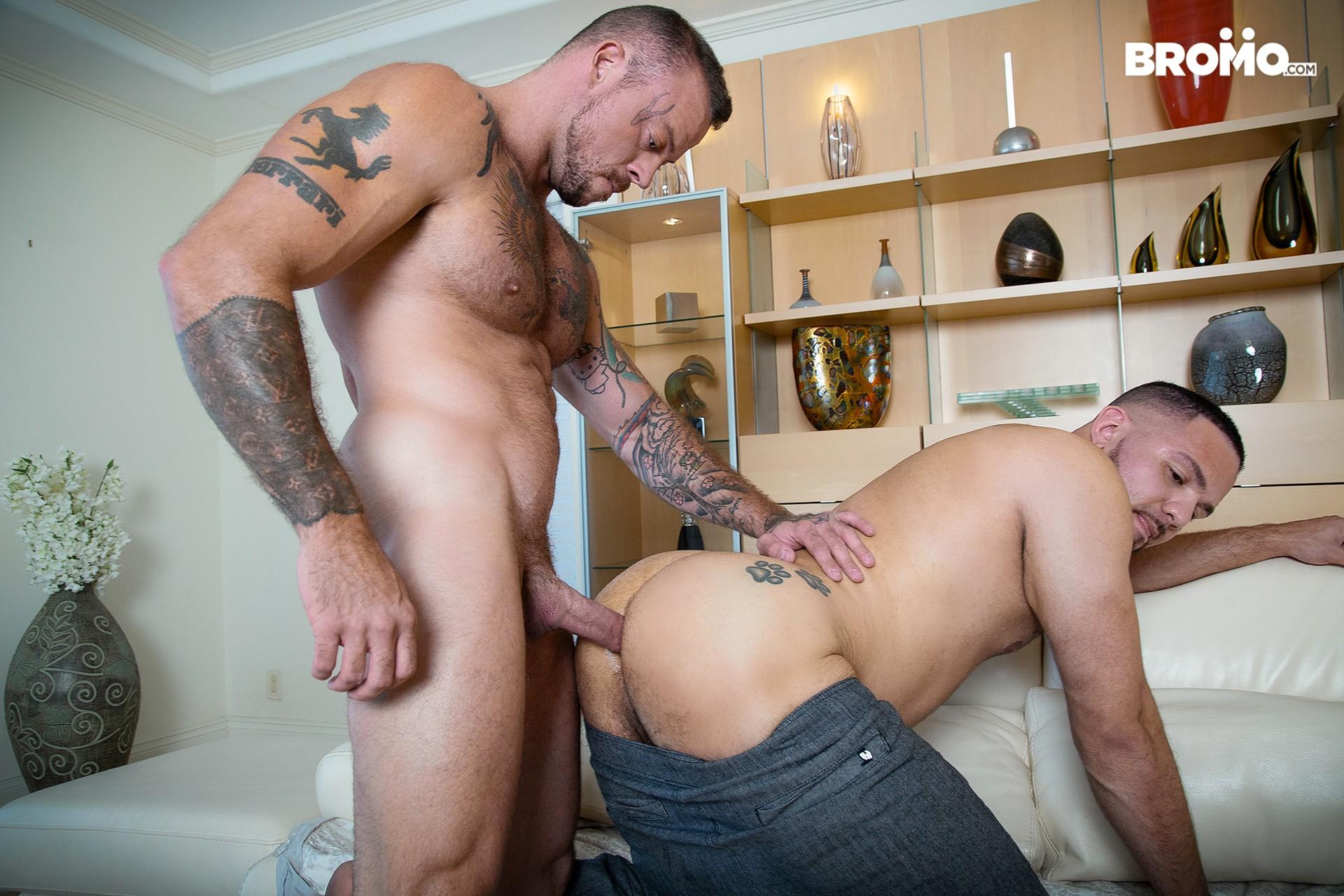 Beefy gay men bareback fucking