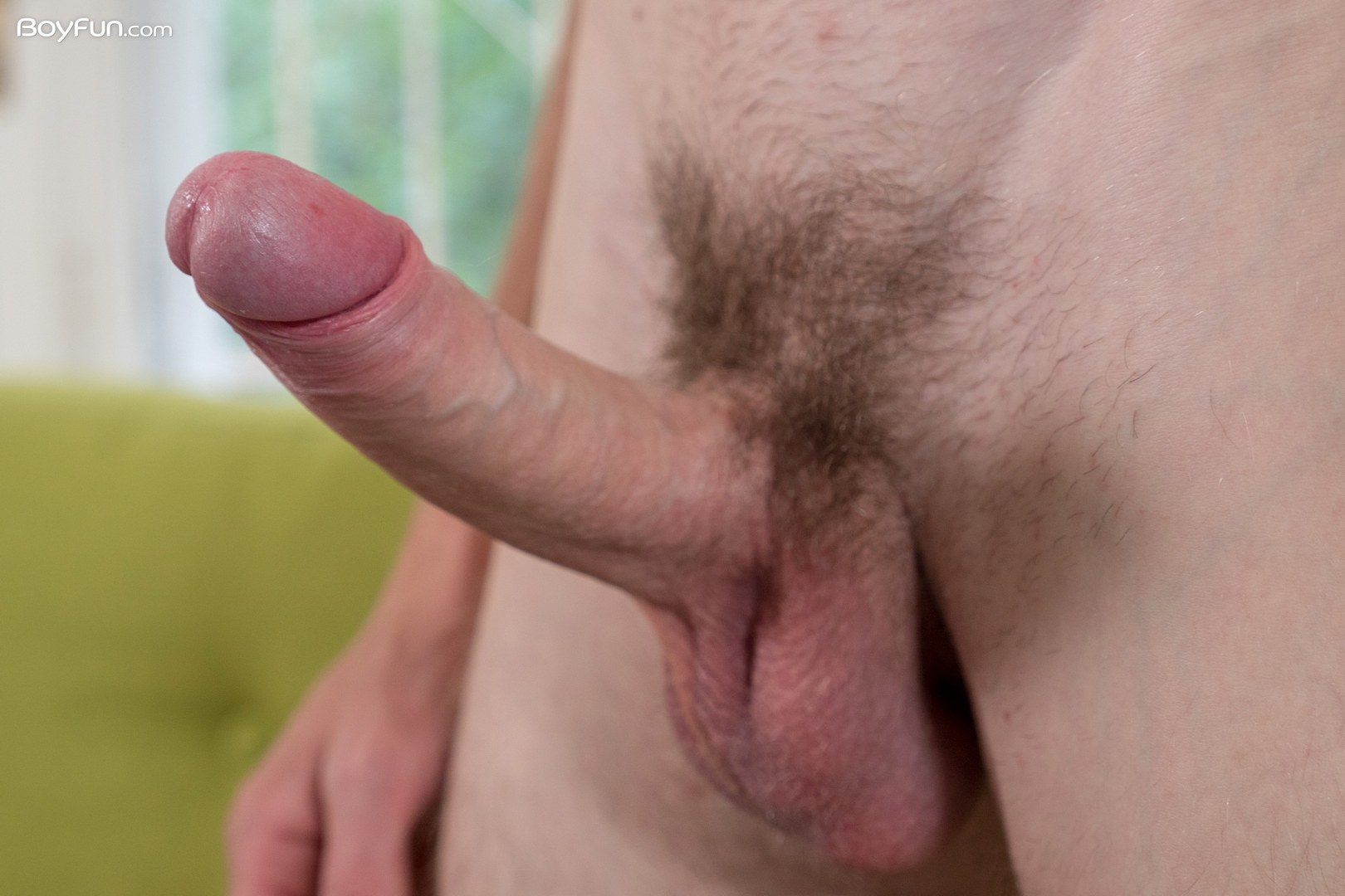 Boy Showing His Hard Uncut Cock