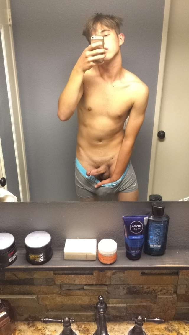 Boy showing hard cock