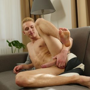 Blonde gay boy with a nice long uncut cock