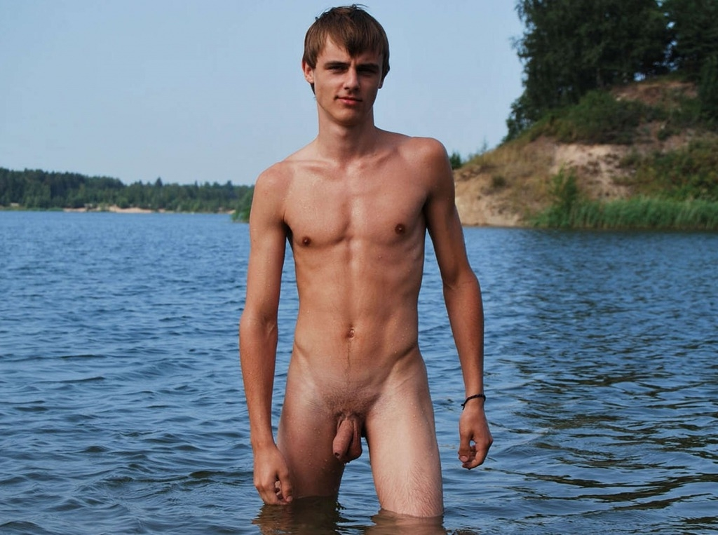 Fit nudist boy with a soft cock