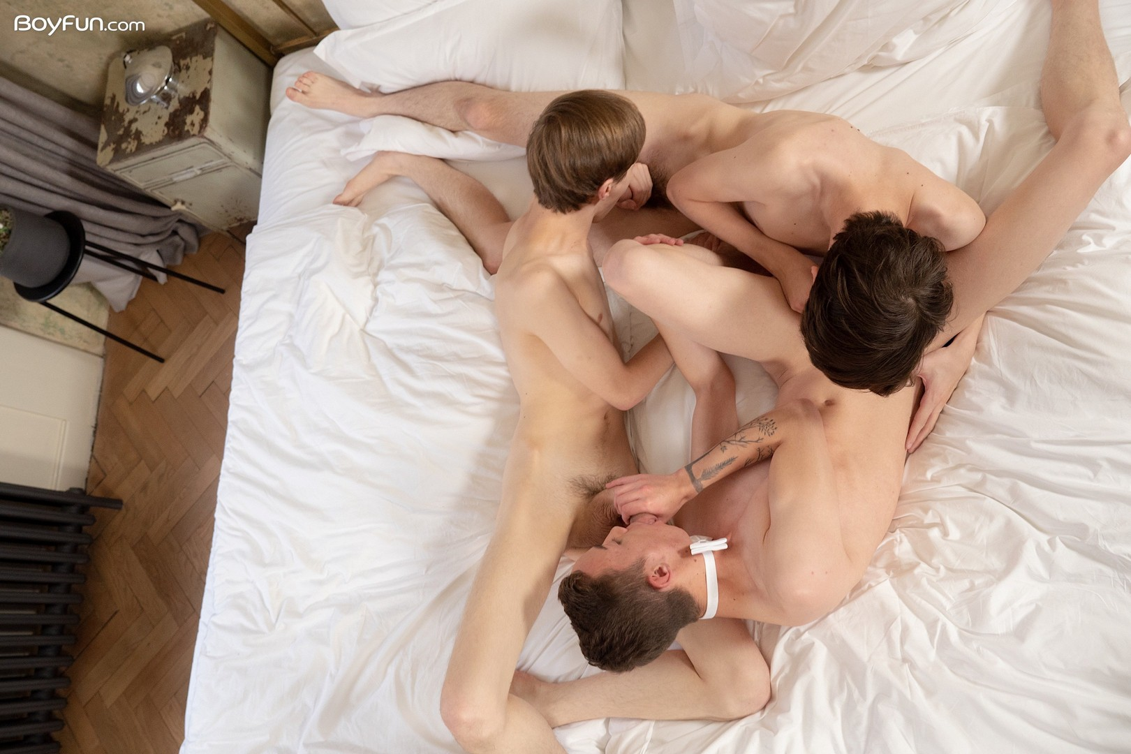 European gay boys having a threesome