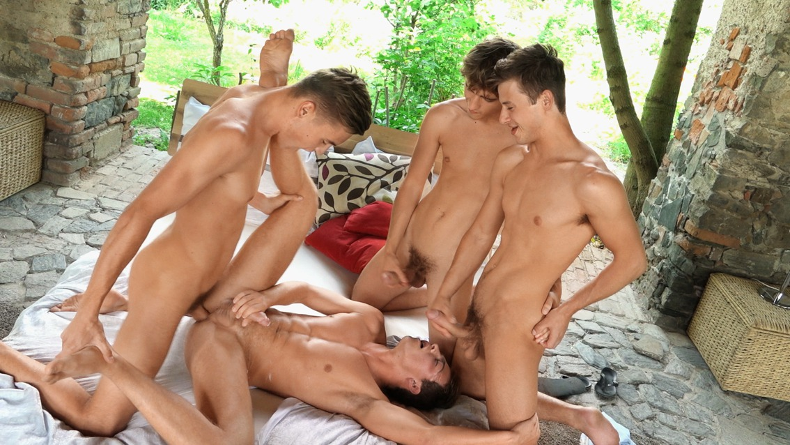 Hung gay boys having group sex
