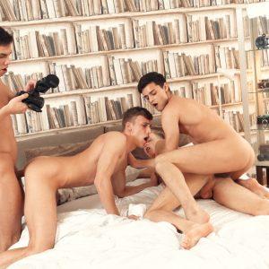Uncut European gay studs having an orgy
