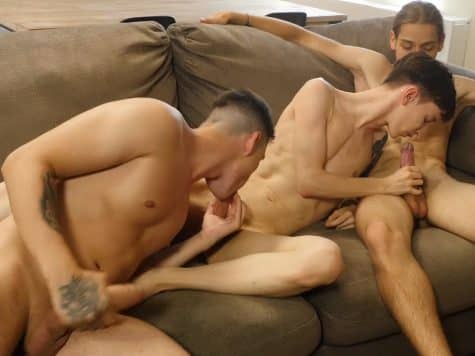 Gay threesome video