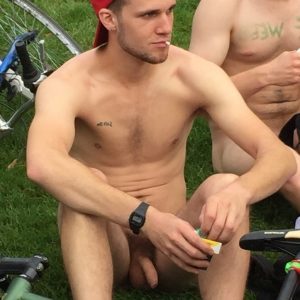 Hot nudist with a soft cock