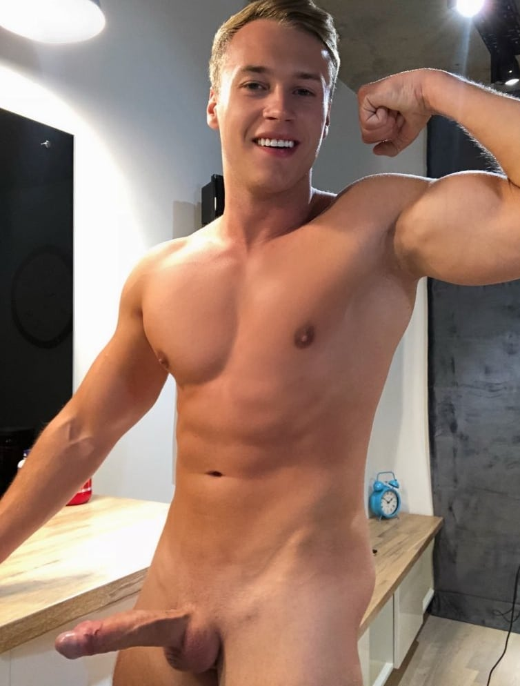 Hunky boy with shaved cock