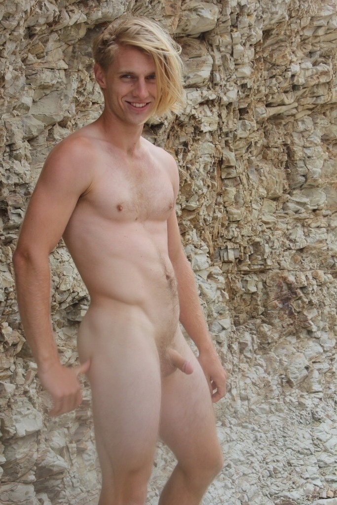 Muscular blonde nudist man