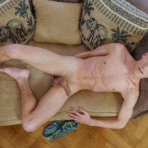 Cute nude boy with a big uncut cock