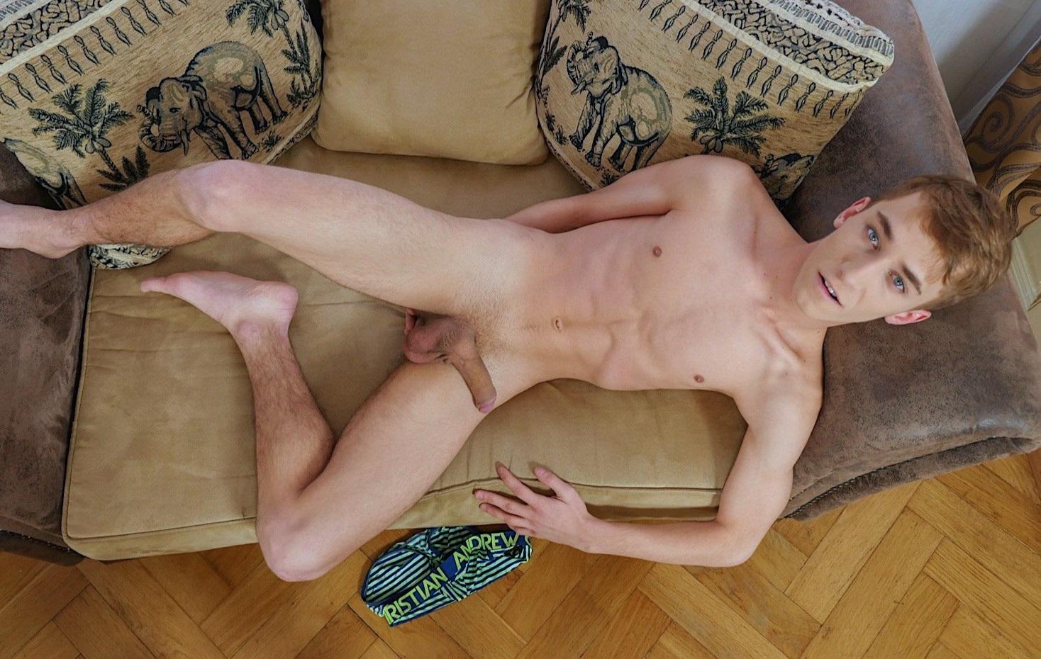 Cute nude boy with a big uncut cock