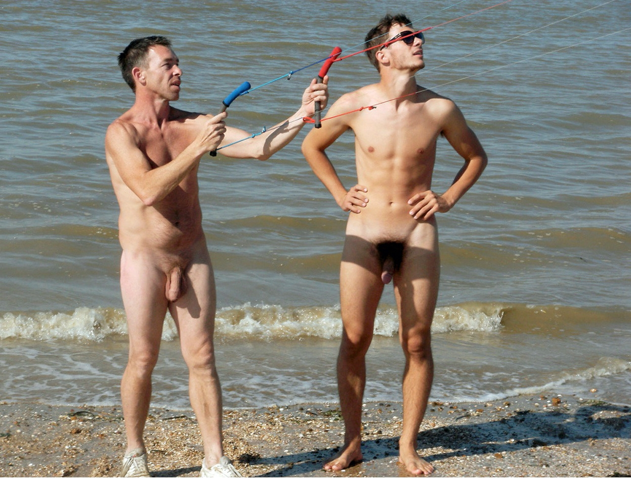 Nudist men on the beach