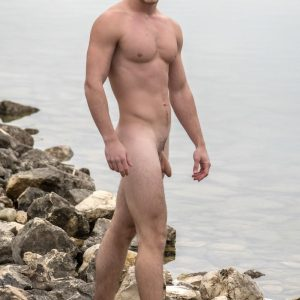 Nudist hunk with a soft cock