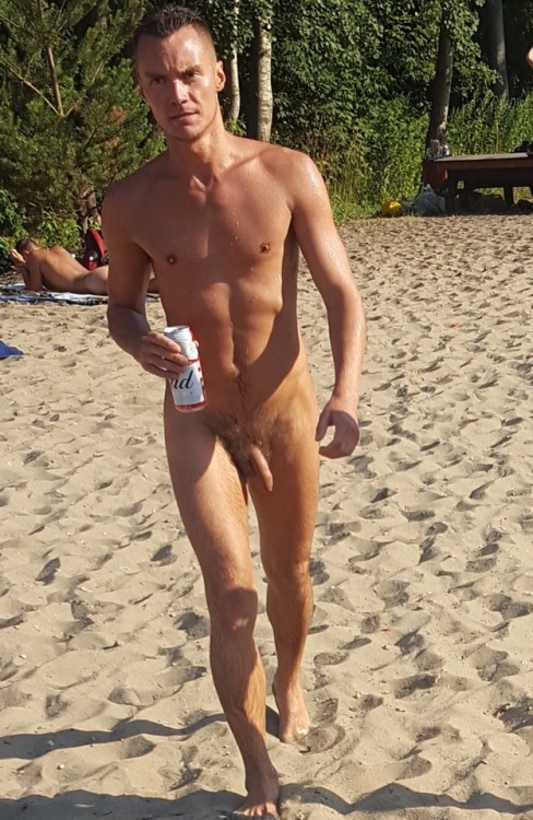 Nudist man on the beach