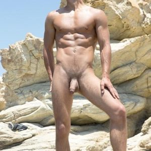 Nudist man with a thick cock