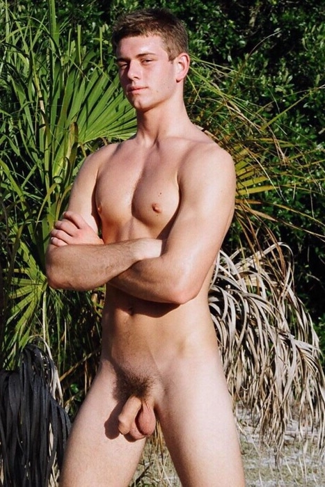 Nudist with a soft hairy cock