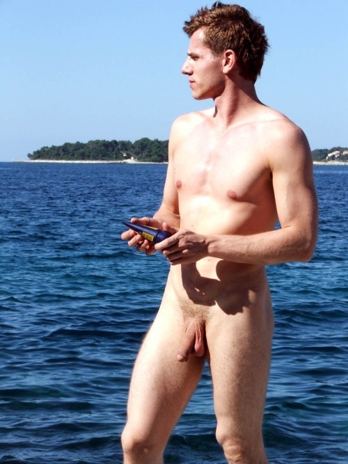 Nudist boy with a big soft cock