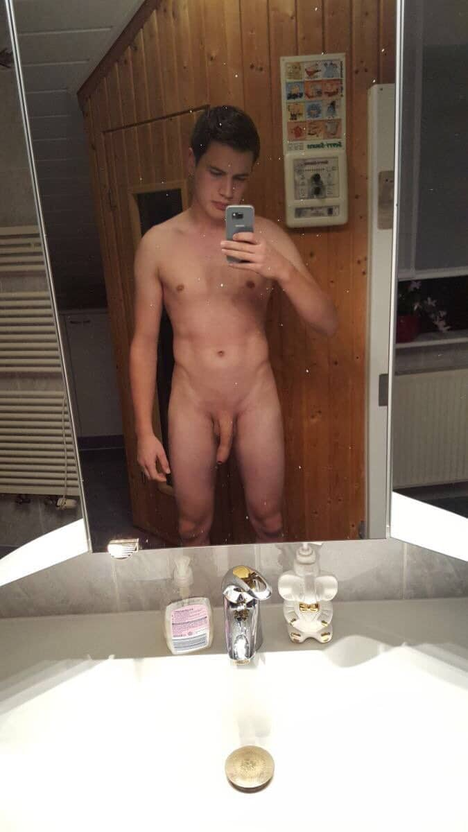 Selfie boy with shaved cock