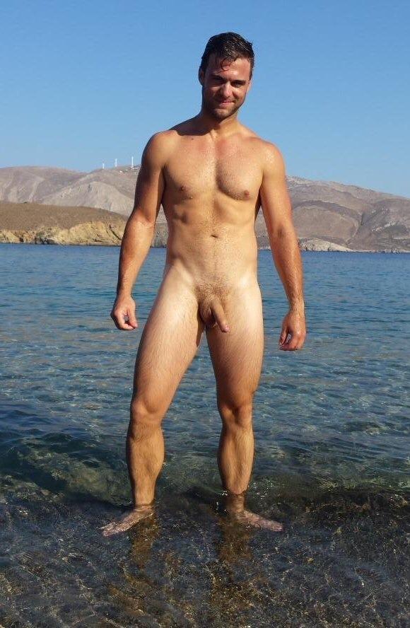 Semi hard nudist cock