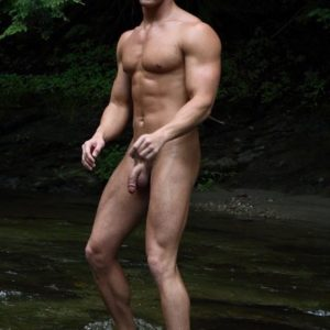 Sexy muscular nudist man