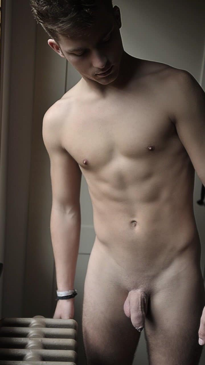 Smooth shaved soft uncut cock
