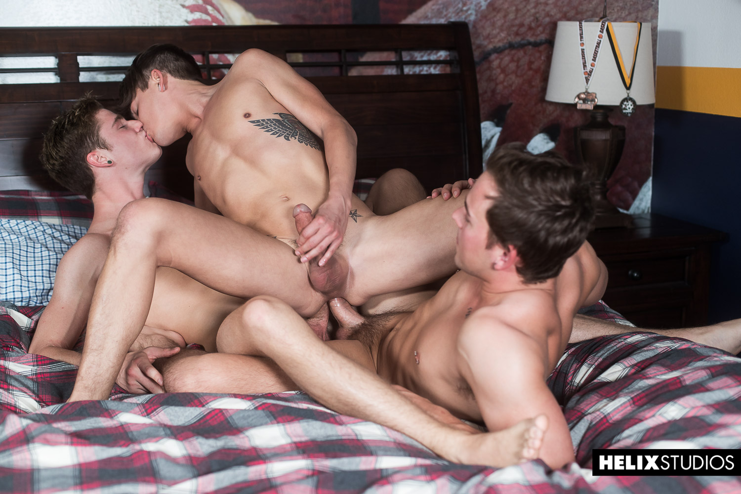 American gay boys having a threesome